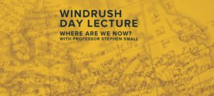 An old map of the Caribbean is overlaid with a modern map of the UK, with the words Windrush Day Lecture on top