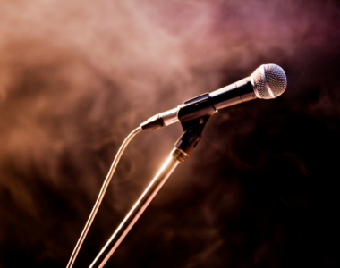 Microphone in a smoky stage background